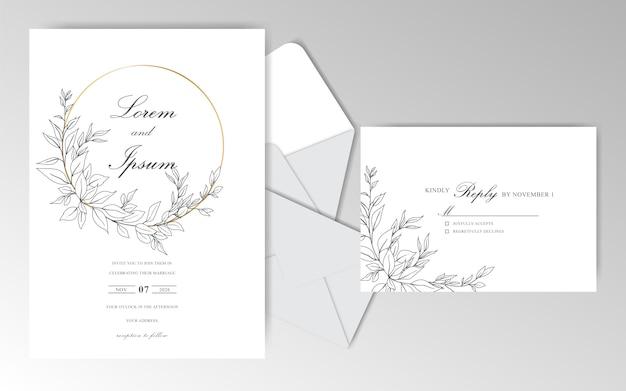 Elegante hand gezeichnete hochzeitseinladungskartenschablone mit schönen blättern Premium Vektoren