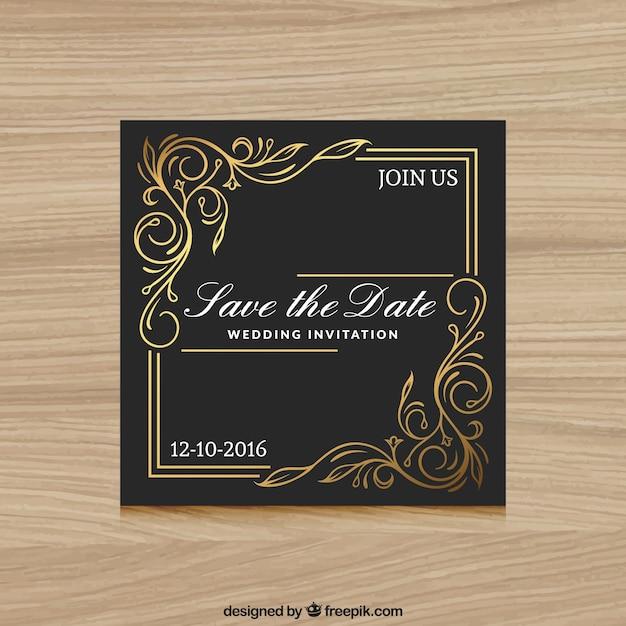 Elegante Hochzeitseinladung schwarz und gold Kostenlose Vektoren