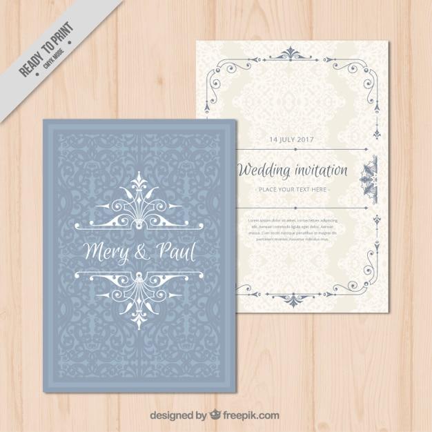 Elegante Hochzeitseinladung Zier  Download der Premium Vektor