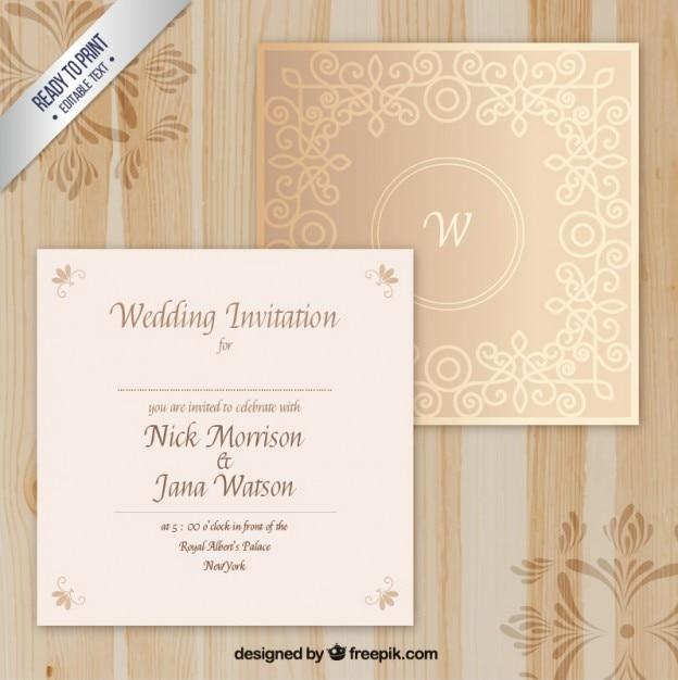 Elegante Hochzeitseinladung  Download der Premium Vektor
