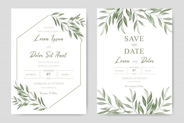 Elegante hochzeitseinladungs-schablonenkarte mit aquarellblättern Premium Vektoren