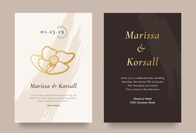 Elegante hochzeitseinladungskarte mit goldblumenillustration Premium Vektoren