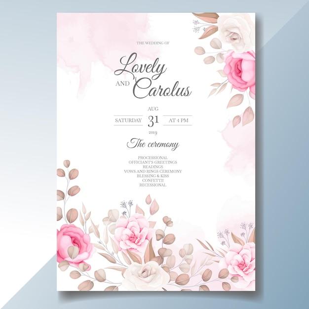 Elegante hochzeitseinladungskarte mit schönen blumen Kostenlosen Vektoren