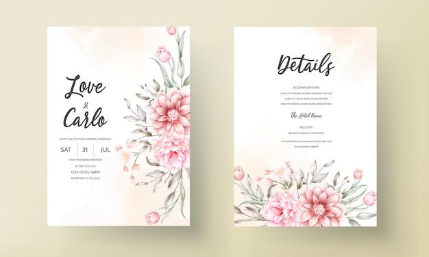 Elegante hochzeitseinladungskarte mit schönen blumenornamenten Kostenlosen Vektoren