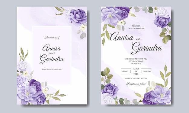 Elegante hochzeitseinladungskarte mit schöner blumen- und blattschablone Premium Vektoren