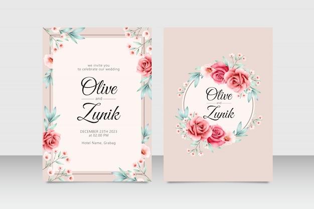 Elegante hochzeitseinladungskarten-satzschablone mit blumen- und blattaquarell Premium Vektoren