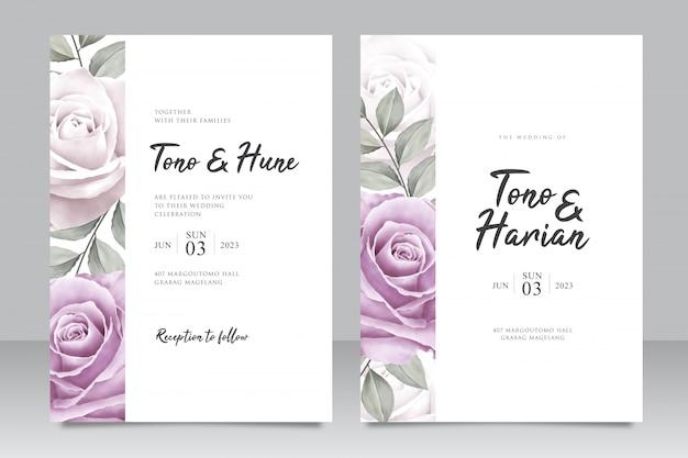 Elegante hochzeitseinladungskartenschablone mit schönen lila rosenblumen Premium Vektoren