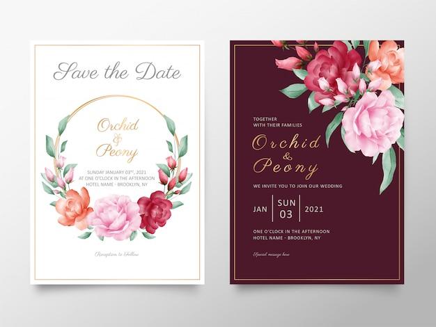 Elegante hochzeitseinladungskartenschablone stellte mit aquarellrosen und pfingstrosenblumen ein Premium Vektoren