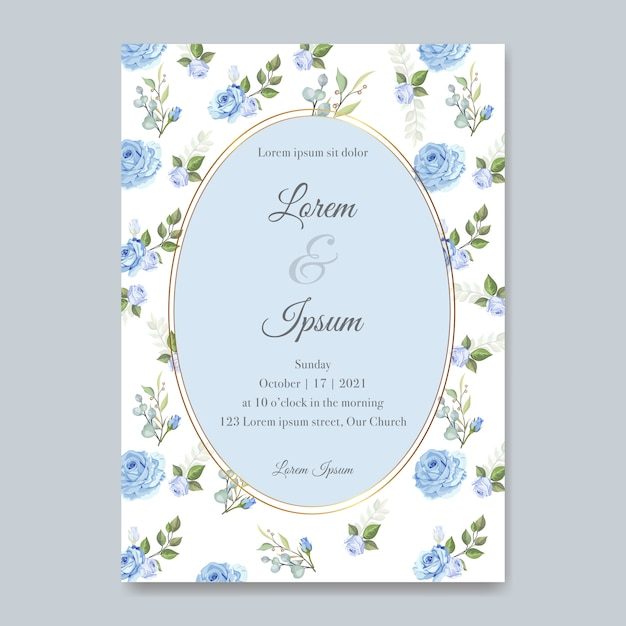 Elegante hochzeitskarte mit schöner blumen- und blattschablone Premium Vektoren