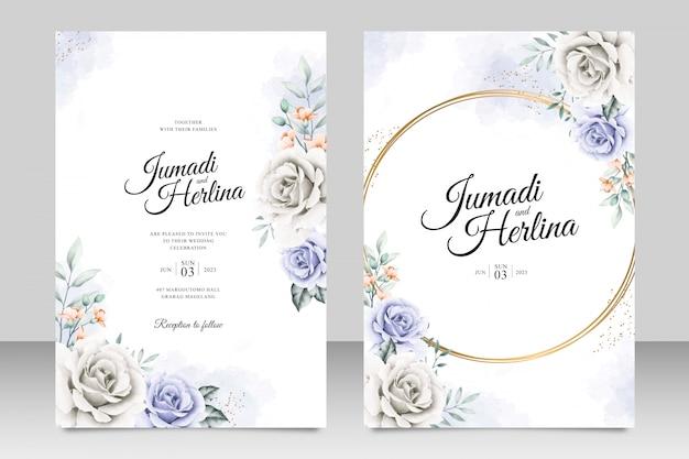 Elegante hochzeitskartenschablone mit schönem blumenaquarel Premium Vektoren