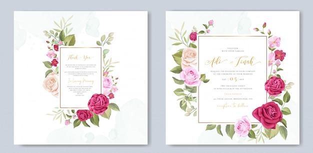 Elegante hochzeitskartenschablone mit schönem rosenkranz Premium Vektoren