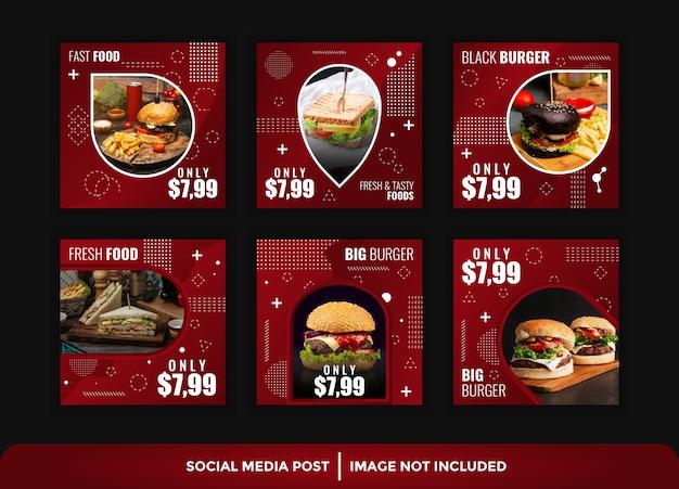 Elegante instagram beitragsnahrungsmittelschablone Premium Vektoren