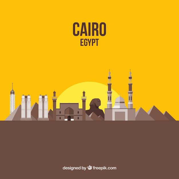 Elegante Kairo Skyline Mit Flachem Design Download Der Kostenlosen