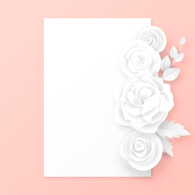 Elegante karte mit weißbuch-schnittblumen Kostenlosen Vektoren
