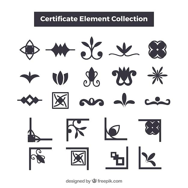 Elegante kollektion von cerficate-elementen Kostenlosen Vektoren