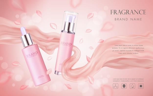 Elegante kosmetische werbung mit rosa blumenblumenblättern und silk beschaffenheit Premium Vektoren