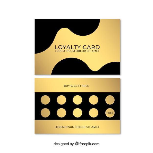 Elegante kundenkartenschablone mit goldener art Kostenlosen Vektoren