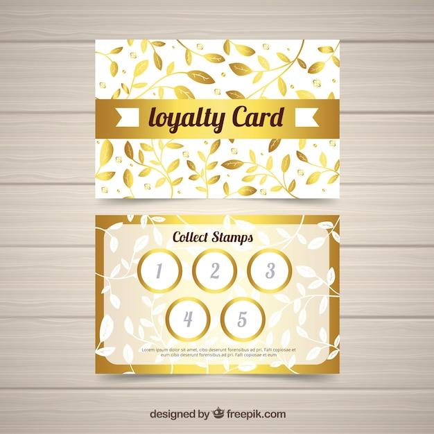 Elegante kundenkartenvorlage mit goldenem design Kostenlosen Vektoren