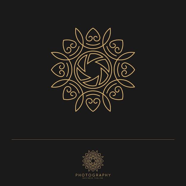 Elegante luxus-fotografie-logo-vorlage. Premium Vektoren