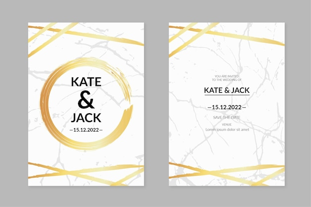 Elegante marmorhochzeits-einladungsschablone mit goldenen details Kostenlosen Vektoren