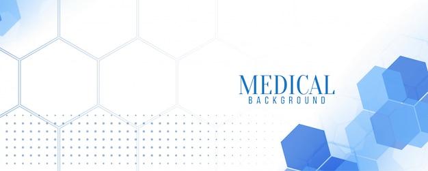 Elegante medizinische blaue sechseckige fahne Kostenlosen Vektoren