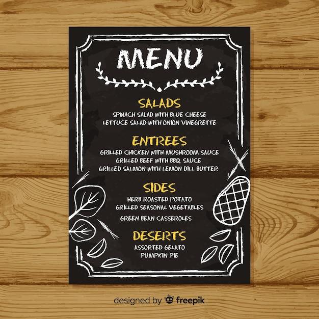Elegante menüschablone mit tafelart Kostenlosen Vektoren
