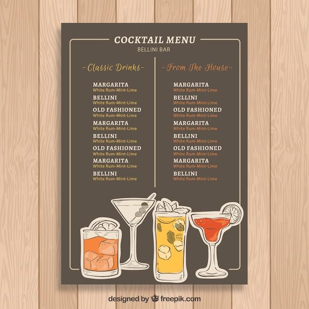 Cocktail Karte.Elegante Moderne Cocktailkarte Vorlage Download Der Kostenlosen Vektor