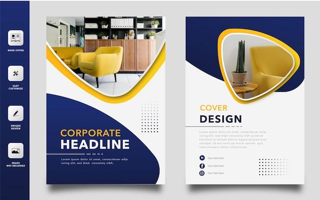 Elegante möbel home decoration buch cover vorlage Premium Vektoren