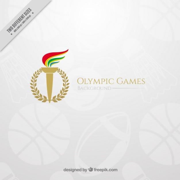 Elegante olympischen spiele hintergrund mit einer fackel Kostenlosen Vektoren