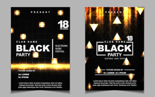 Elegante plakatschablone für elektromusikfestival mit goldenem licht Premium Vektoren
