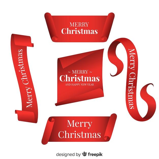 Elegante rote bandsammlung des weihnachten Kostenlosen Vektoren