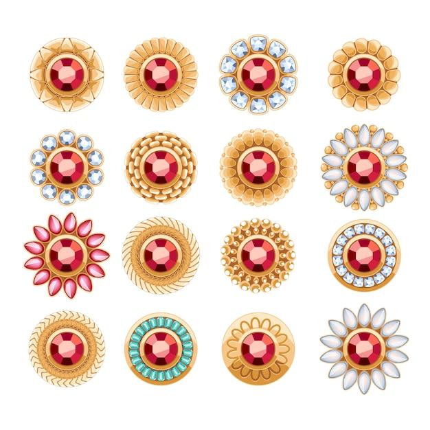 Elegante rubine edelsteine schmuck runde knöpfe nieten dekorationen gesetzt. ethnische blumenvignetten. gut für mode juwelier logo. Premium Vektoren