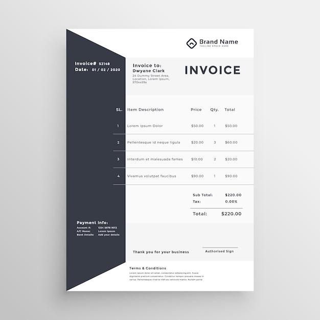 Elegante schwarz-weiß rechnungsvorlage Kostenlosen Vektoren
