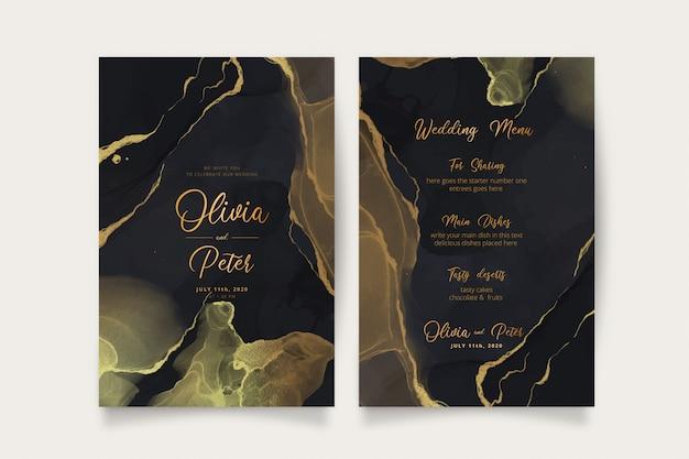Elegante schwarze und goldene hochzeitseinladung und menüschablone Kostenlosen Vektoren