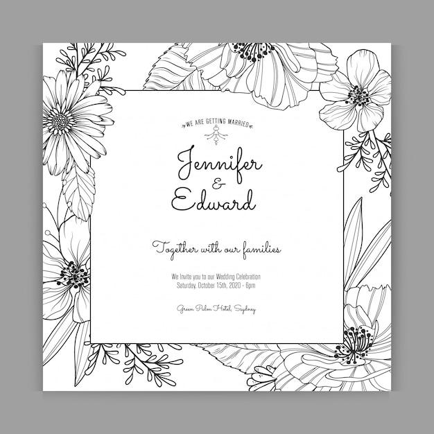 Elegante schwarzweiss-hochzeitseinladung Premium Vektoren