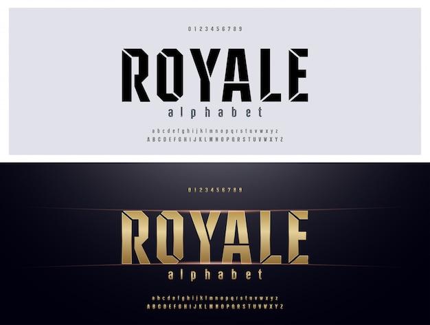 Elegante typografie-goldenes metallalphabet-guss-set Premium Vektoren