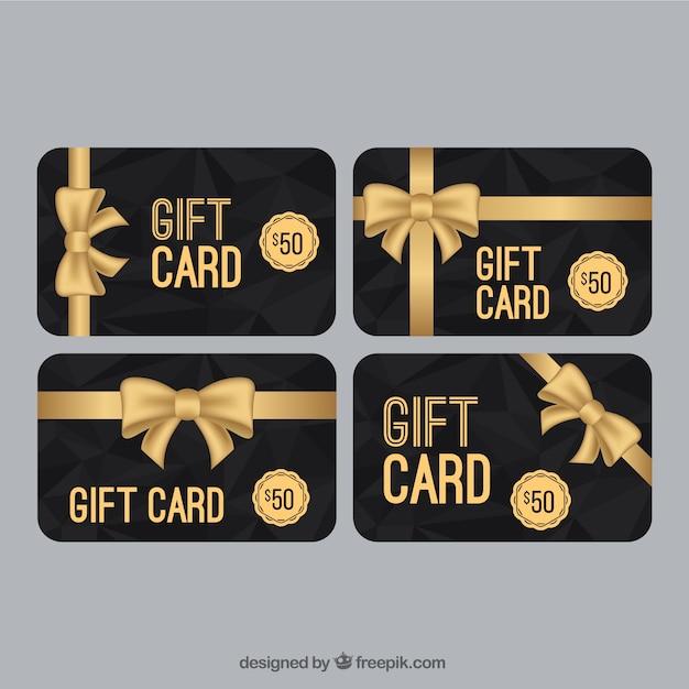 Elegante verkaufs coupon mit goldenen bogen sammlung Kostenlosen Vektoren