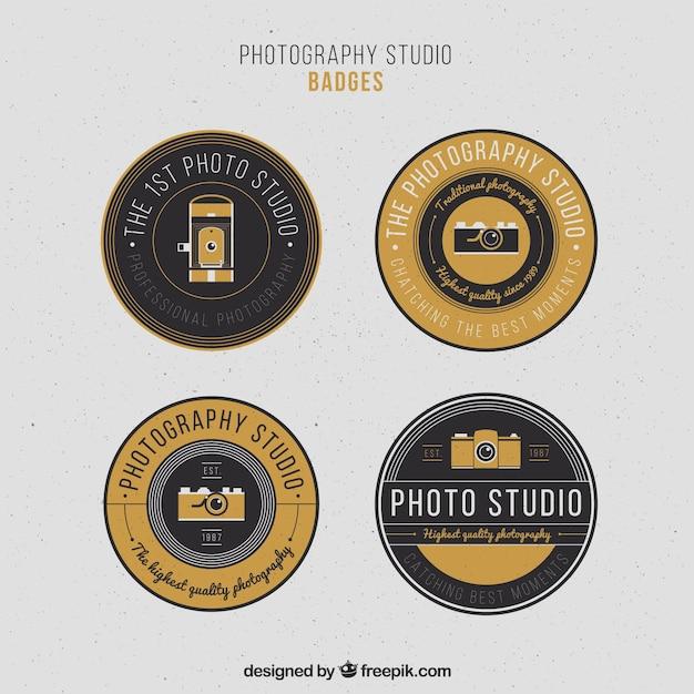 Elegante vintage kreis fotografie abzeichen Kostenlosen Vektoren