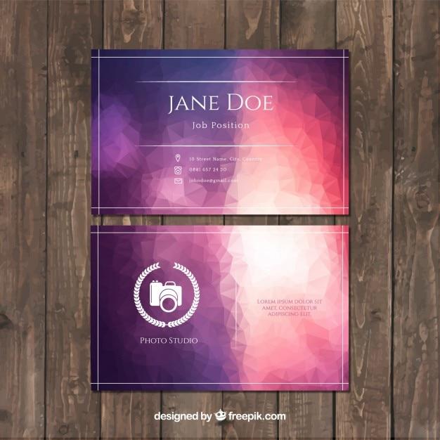 Elegante violette abstrakte visitenkarte der fotografie Kostenlosen Vektoren