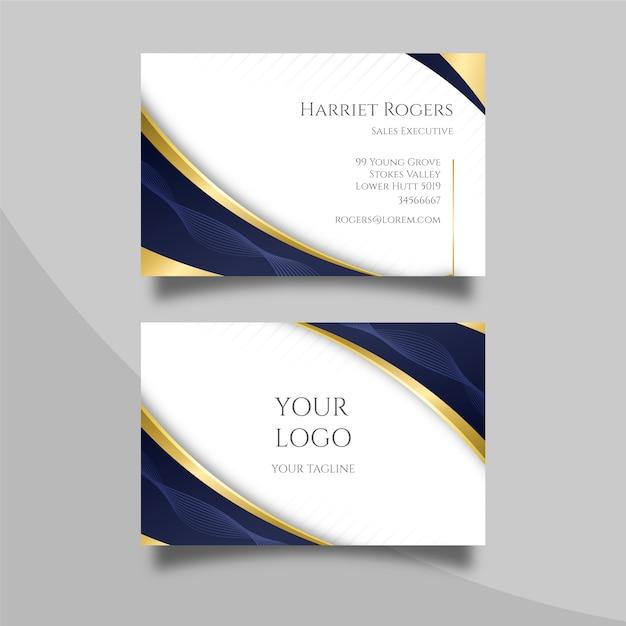 Elegante visitenkarte mit goldenen linien Kostenlosen Vektoren