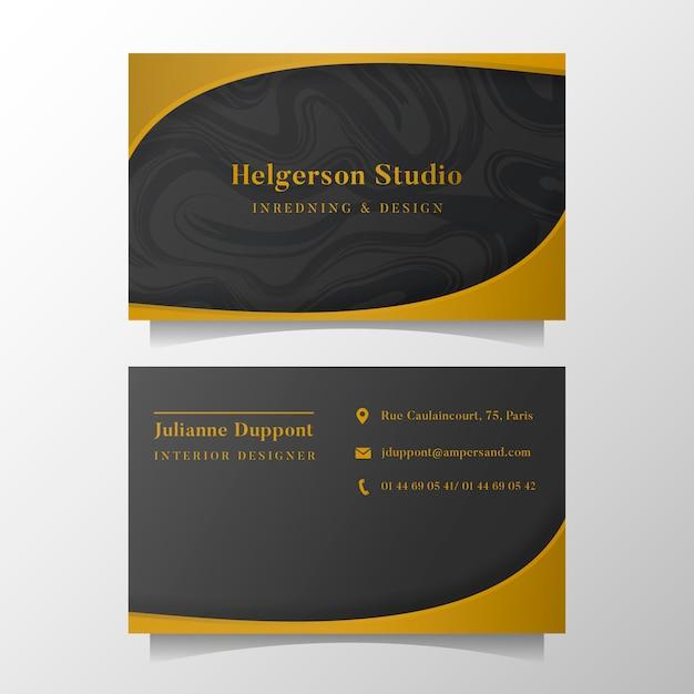 Elegante visitenkarteschablone mit goldenen formen Kostenlosen Vektoren