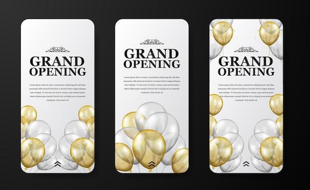 Elegante vorlage für die eröffnung oder wiedereröffnung von luxus-social-media-geschichten für ankündigungsmarketing mit fliegendem transparentem silber- und goldballon mit konfetti und weißem hintergrund Premium Vektoren