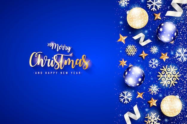 Elegante weihnachtsfahne mit blauem hintergrund Kostenlosen Vektoren