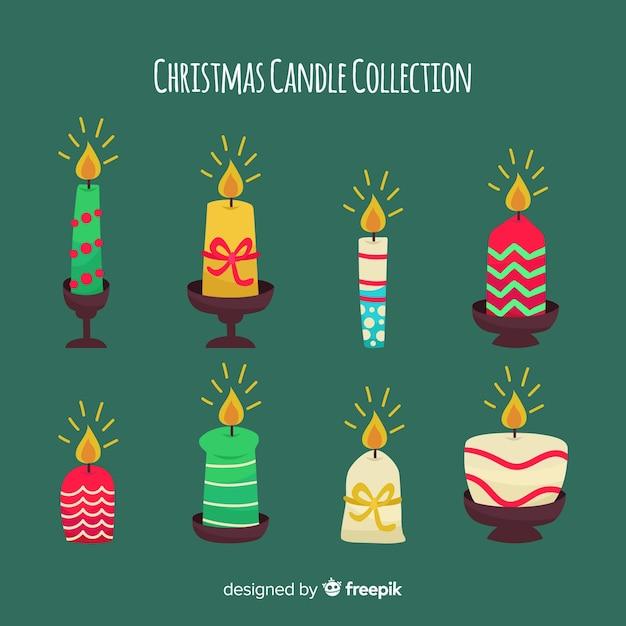 Elegante weihnachtskerzensammlung Kostenlosen Vektoren