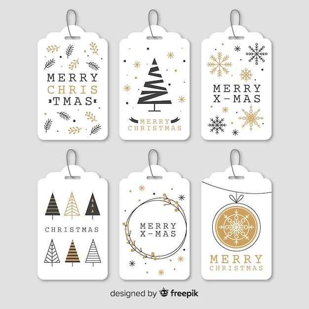 Elegante weihnachtslabel-kollektion Kostenlosen Vektoren