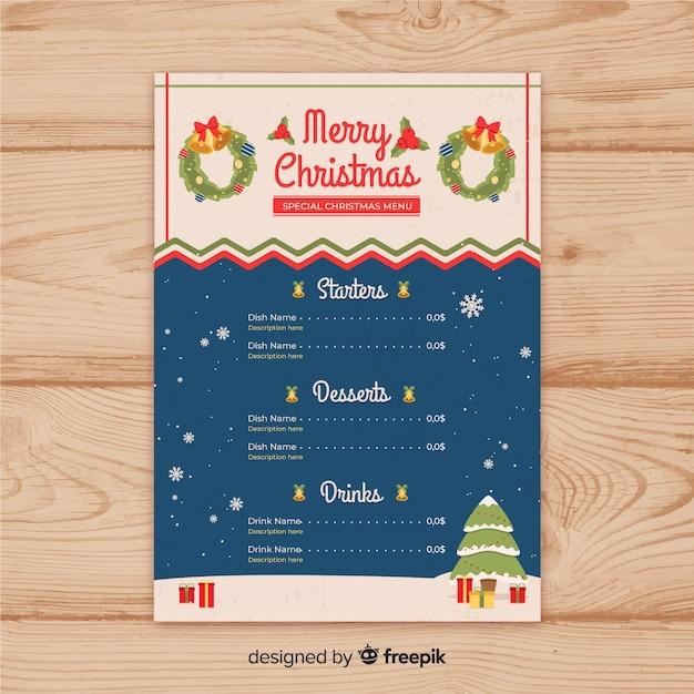 Elegante weihnachtsmenüschablone mit weinleseart Kostenlosen Vektoren