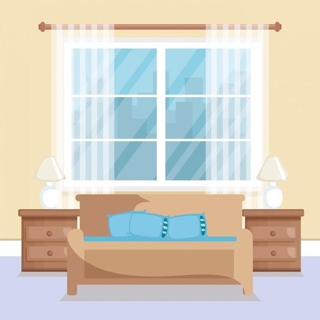 Elegante wohnzimmerszene Kostenlosen Vektoren
