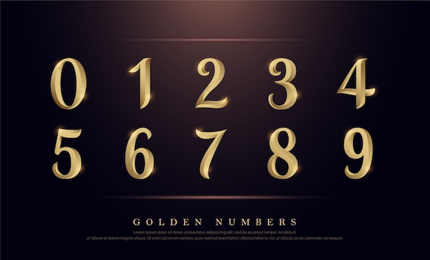 Elegante zahlen gold colored metal chrome alphabet schriftart Premium Vektoren