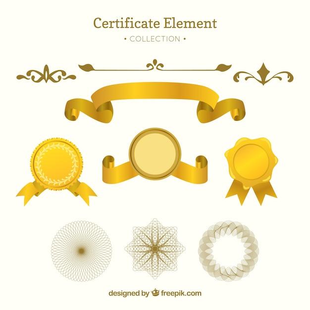 Elegante zertifikat-elementsammlung mit flachem design Kostenlosen Vektoren