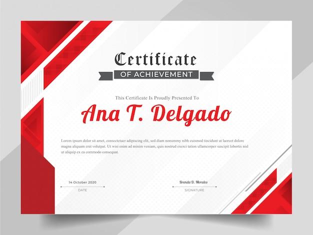 Elegante zertifikatsschablone mit rotem abstraktem hintergrund Premium Vektoren